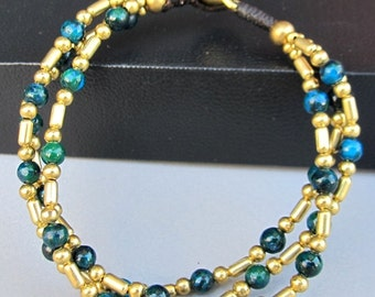 Boho Multi Strand Bracelet with Brass Bead and Chrysocolla Bead