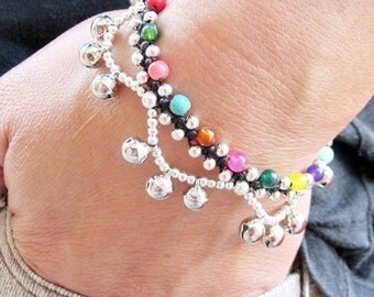 Multi Stone and Silver Plated Colour Bead Ring Ring Bracelet
