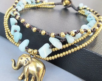 Charm Elephant with Multi Strand Amazonite and Brass Bead Ankle Bracelet