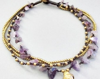Multi Strand Amethyst  and Single Brass Bell Anklet