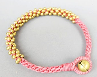 All Brass Bead Woven with Pink Wax Cord Bracelet