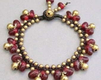 Red Glass Bead and Brass Bracelet