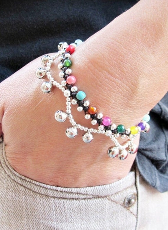 Multi Stone and Silver Plated Beaded Ring Ring Bracelet