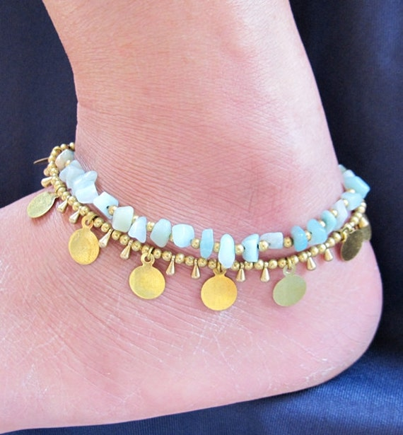 Romany Anklet Multi line Brass Bead with Amazonite Stone