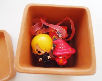 Very Cute Clay Japanese Box.Sailor.80s