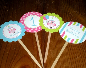 Pink Owl cupcake toppers - Set of 24