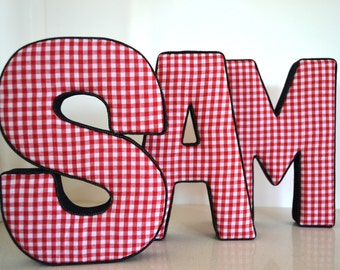 LETTER WALL ART - Red Gingham and Denim Letters S A M