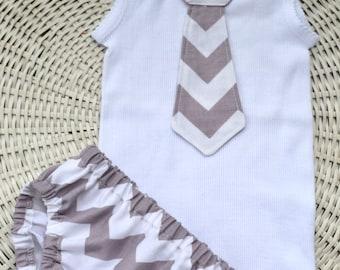 Baby Boy Tie Singlet Onesie Nappy Cover Set In Grey Chevron