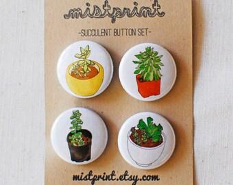 Succulent Pinback Buttons- Set of 4