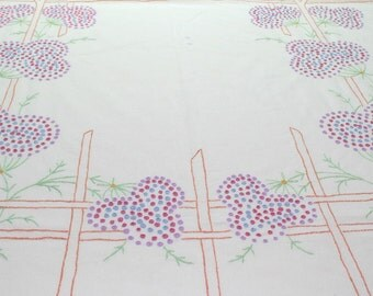 1940's Bed Cover, Vintage Hand Embroidered Cotton Coverlet, Summer Bedspread