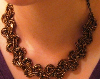 Gold Colored Beadwork Necklace
