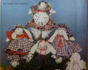 Simplicity 5971 Stuffed Bunny and Clothes 14 inch Doll Sewing Pattern