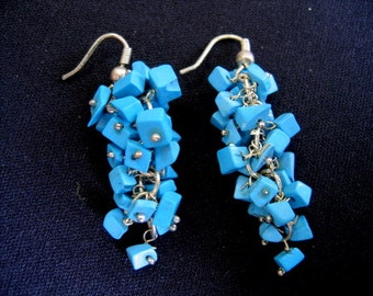 TURQUOISE GEMSTONE Chip Earrings with Silver Hooks Pierced Ears