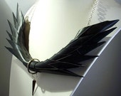 Post apocalyptic black rubber wings necklace recycled jewellery
