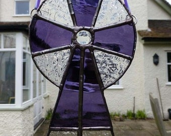 Stained Glass Purple and Clear Celtic Cross, light catcher MTO