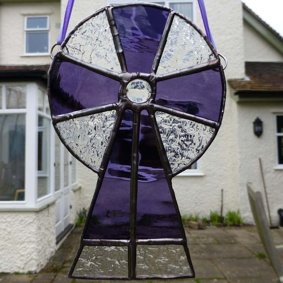 Stained Glass Purple and Clear Celtic Cross light catcher MTO