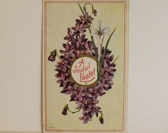Antique Easter floral postcard violets flowers holiday post card