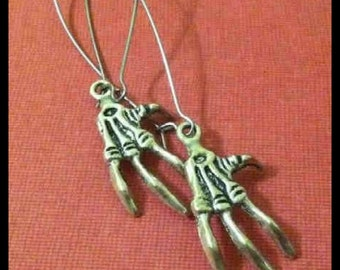 Skeleton Hand Bone Long Earrings, Bird Claw, Silver Tone