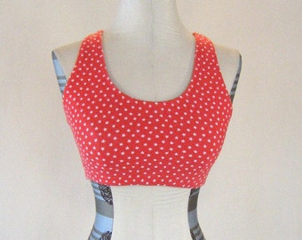 Marika Star Print Red Workout Sports Bra