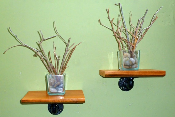 custom pipe and wood shelves made to order. Black Bedroom Furniture Sets. Home Design Ideas