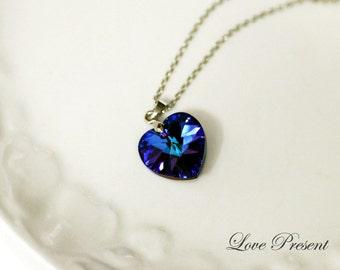 Eye catching Swarovski Crystal Jumbo Sweet Heart adjustable Necklace - Color Heliotrope or Vitrail Light or Medium - Choose your Color