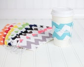Chevron Coffee Sleeve Rainbow Set of 10 Coffee Cozy for Women or Men - bamcraftymommas