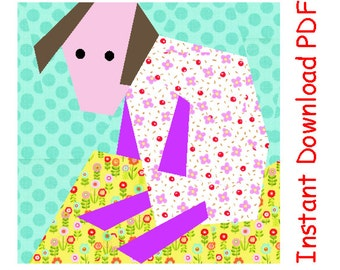Lonely lamb quilt paper piecing Pattern block INSTANT DOWNLOAD PDF