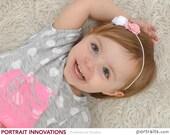 Sophia- Light Pink Tea Rose and White Mini Satin Rosette Thin Elastic Headband