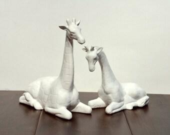 Vintage Ceramic Pair of Giraffes Nursery Decor Home Accessories , White