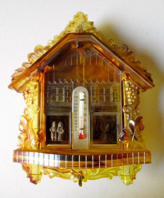 Vintage Mystic Weather Forecaster Cuckoo Clock Thermometer