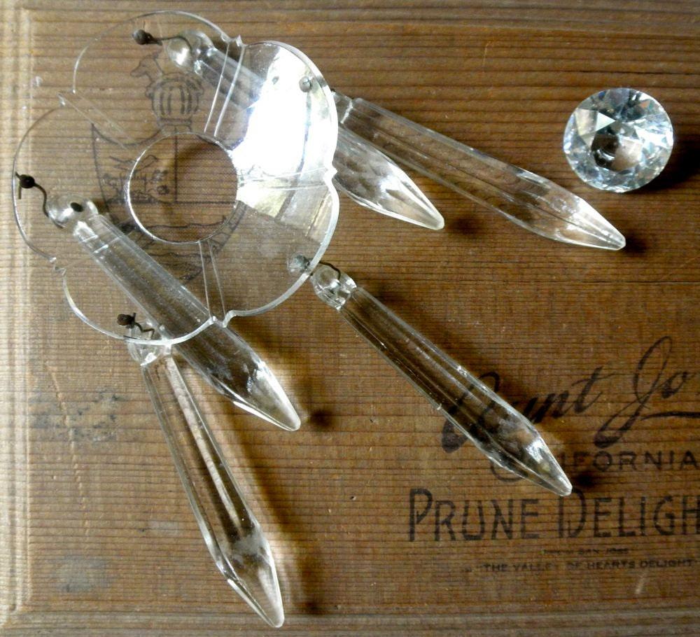 Crystal Chandelier Pendants Parts: Vintage Crystal Chandelier Bobeche // Chandelier Glass Parts