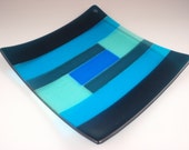 Geometric square blue and green glass dish