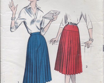 Vintage 50s 60s Advance Pleated Skirt Pattern 8690 24 Waist