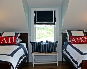 Custom Nautical bedding and Roman shade