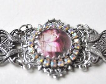Pink Flapper Ballerina  Vintage style silver/crystal bracelet