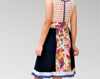 Princess women dress/ strapless crossed/ multicolor patchwork style / mixed fabrics/ fancy dress