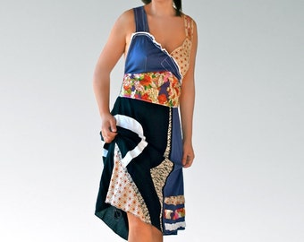 Patchwork women dresses/Upcycled halter /backless strapless/summer tunics/fancy dresses