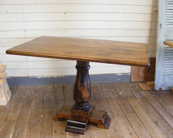 Handcrafted Rectangle Vintage Style Balustrade Pedestal Table With A Deep Walnut Stained Finish