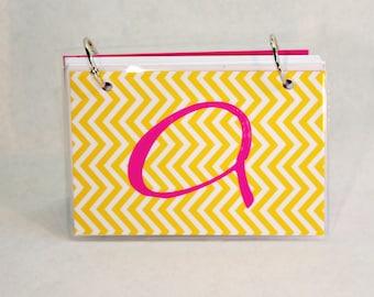 Index Card Binder 4 x 6, Index Card Holder, Personalized Flashcard Holder, Recipe Book, Laminated Note Card Binder, Blank Journal, Monogram