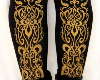 Art Nouveau Printed Tights Extra Large Plus Size Gold on Black Mucha Pattern XL Street Style Leg Wear