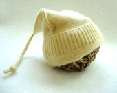 Cashmere Baby Hat Newborn Preemie Hat BUTTER YELLOW Pixie Hat Upcycled Eco Friendly Size XS by WormeWoole