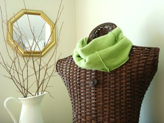 Cashmere Infinity Scarf APPLE GREEN / Spring Green Upcycled Clothing Eco Fashion Eco Gift
