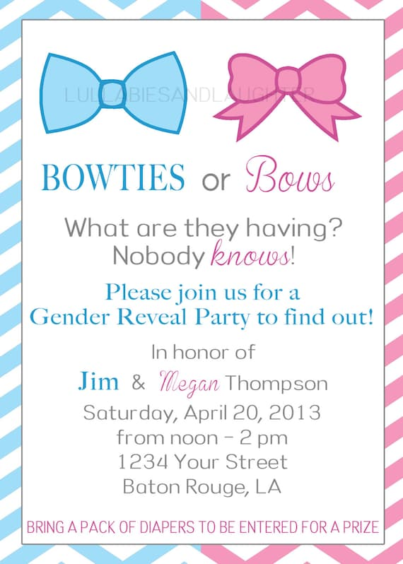 Items similar to Bowties or Bows Gender Reveal Party Invitation – Gender Reveal Party Invitations