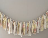 Shabby Chic Yellow, Pink Rose, Spring Green Rag Cloth Garland Banner Newborn Photography Prop Home Decor Birthday Party