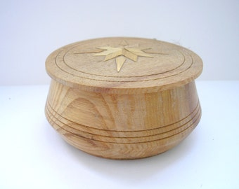 Vintage USSR Soviet round wooden carved jewelry box