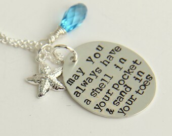 Sterling Silver Beach Necklace, May You Always, Wedding Beach Quote, Summer, Sea Shells, Nautical Necklace, Blue Necklace, Silver Necklace