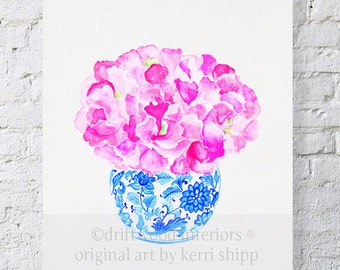 "Pink Floral Watercolor Print ""Sweet Peas in Vintage Blue"" 11x14 - Floral Watercolor in Blue and White China - Blue and White China Print"