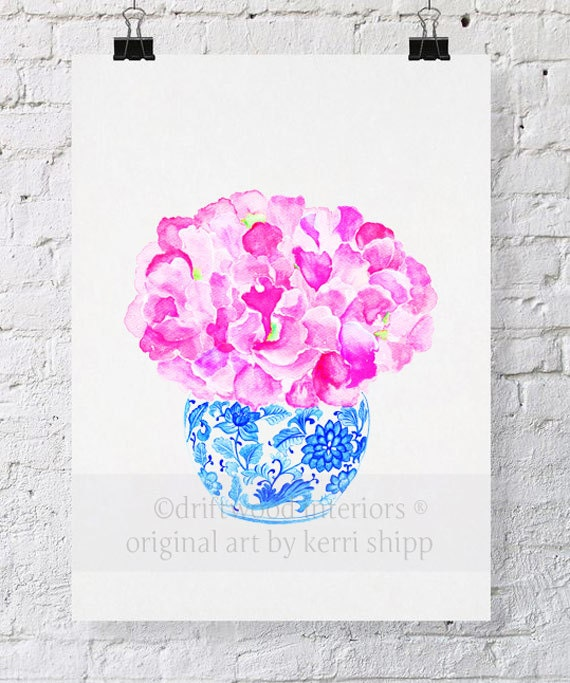 """Pink Floral Watercolor Print """"Sweet Peas in Vintage Blue"""" 11x14 - Floral Watercolor in Blue and White China - Blue and White China Print"""