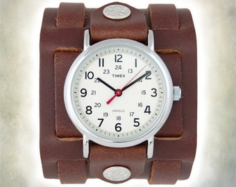Womens Leather Timex Watch - 3 Strap  Cuff Watch