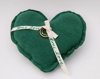 Eco Friendly Wedding - Ring Bearer Pillow - Heart Shaped - Engagement -  Emerald Green